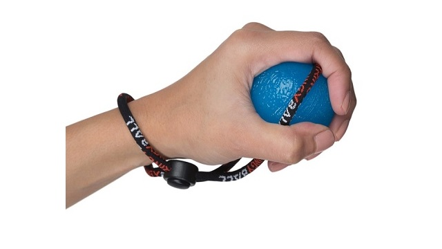 StringyBall Blue Firm Squeeze Ball On A String