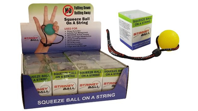 StringyBall Yellow Soft Box Of 12 Squeeze Balls On A String